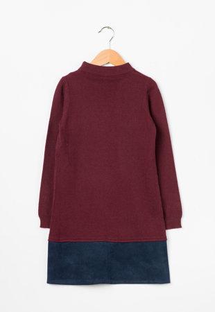 Rochie tricotata fin Bordeaux cu bleumarin