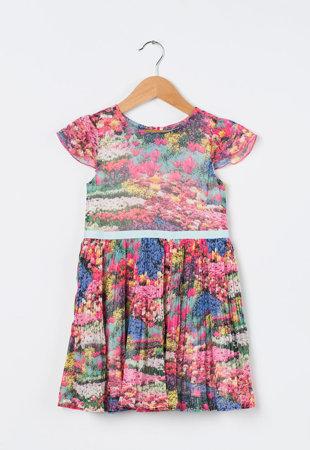Rochie multicolora plisata cu imprimeu floral