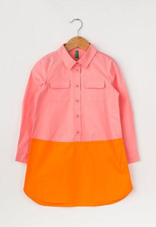 Rochie tip tunica roz cu oranj cu design colorblock