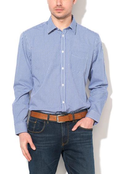 Camasa slim fit alb cu bleumarin si model gingham de la Esprit
