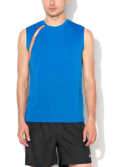 Top sport albastru cobalt cu detalii oranj