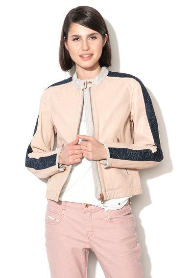 Jacheta roz pal din piele cu garnituri din denim Gin de la Diesel