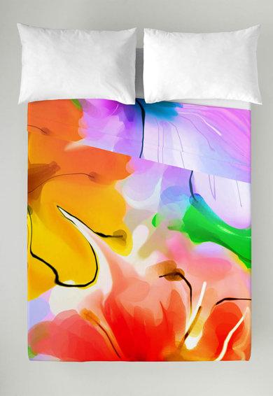 Set multicolor de cearsaf si fata de perna Flowers 160X270-50X70