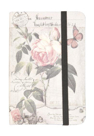 Carnetel alb fildes si roz cu trandafiri de la Clayre  Eef