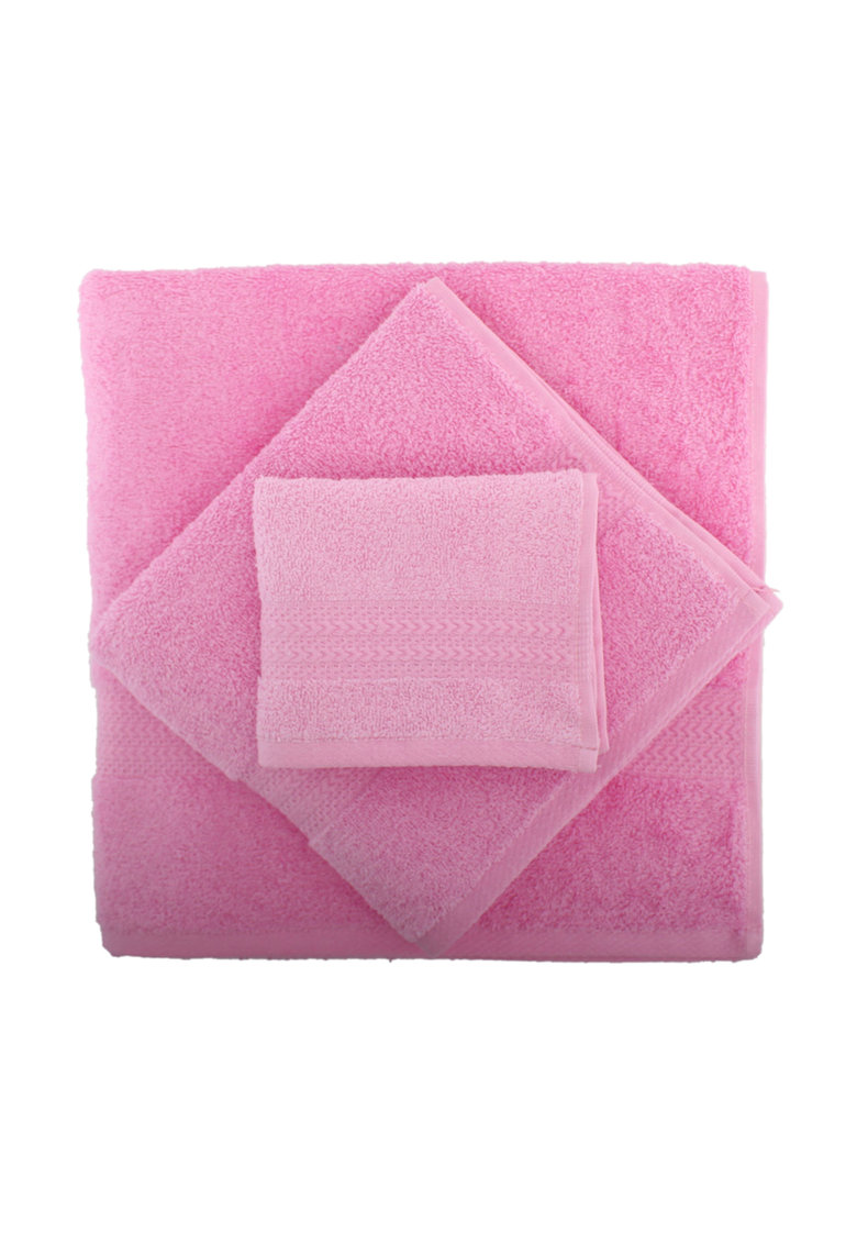 Set 3 prosoape  Rainbow Pink – 100% bumbac – 30 x 50 cm – 50 x 90 cm – 70 x 140 cm – Roz de la Hobby