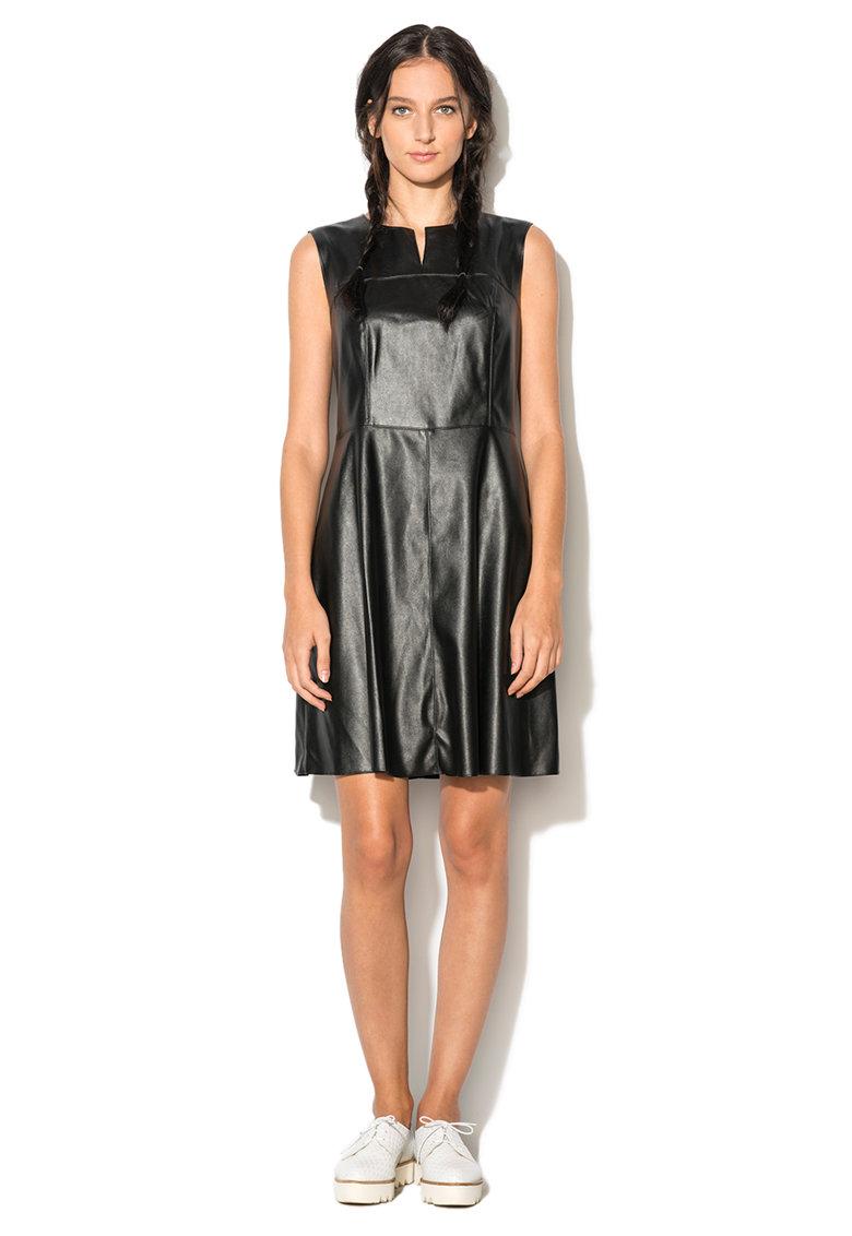 Rochie neagra din piele sintetica