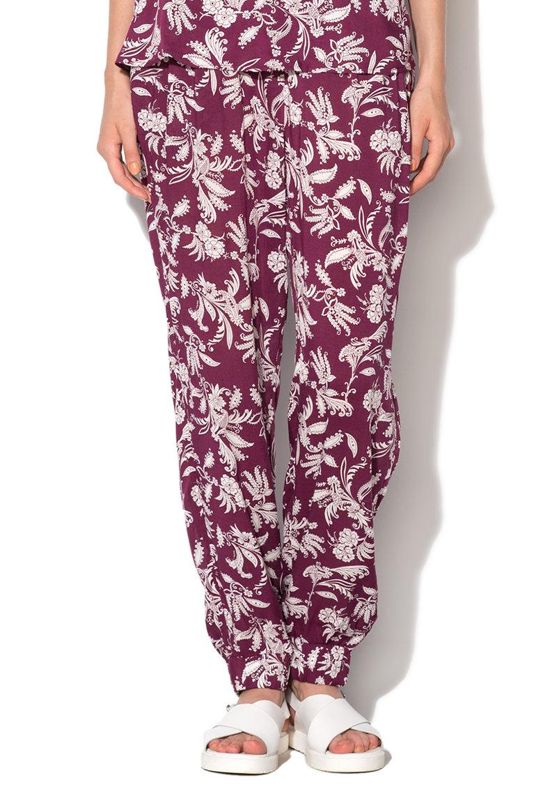 Pantaloni harem purpuriu cu alb murdar de la Undercolors of Benetton