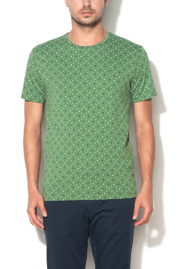 United Colors Of Benetton Tricou verde cu imprimeu geometric