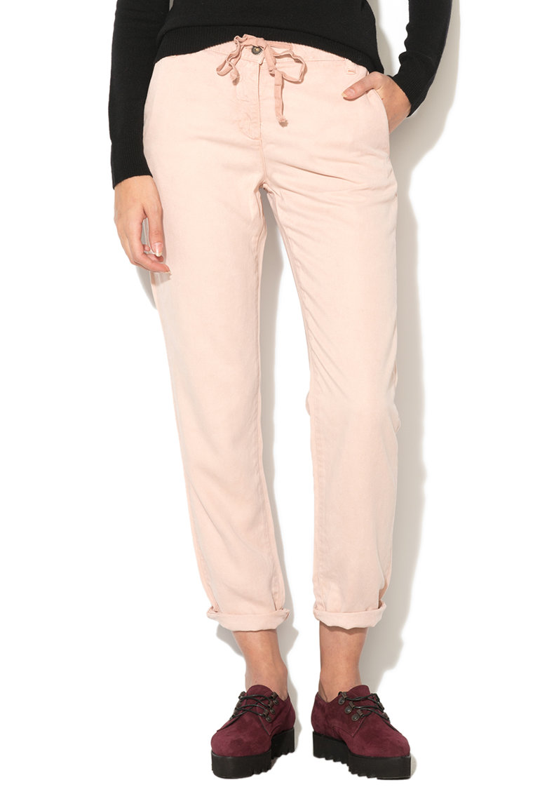 United Colors Of Benetton Pantaloni crop roz pal din lyocell cu snur