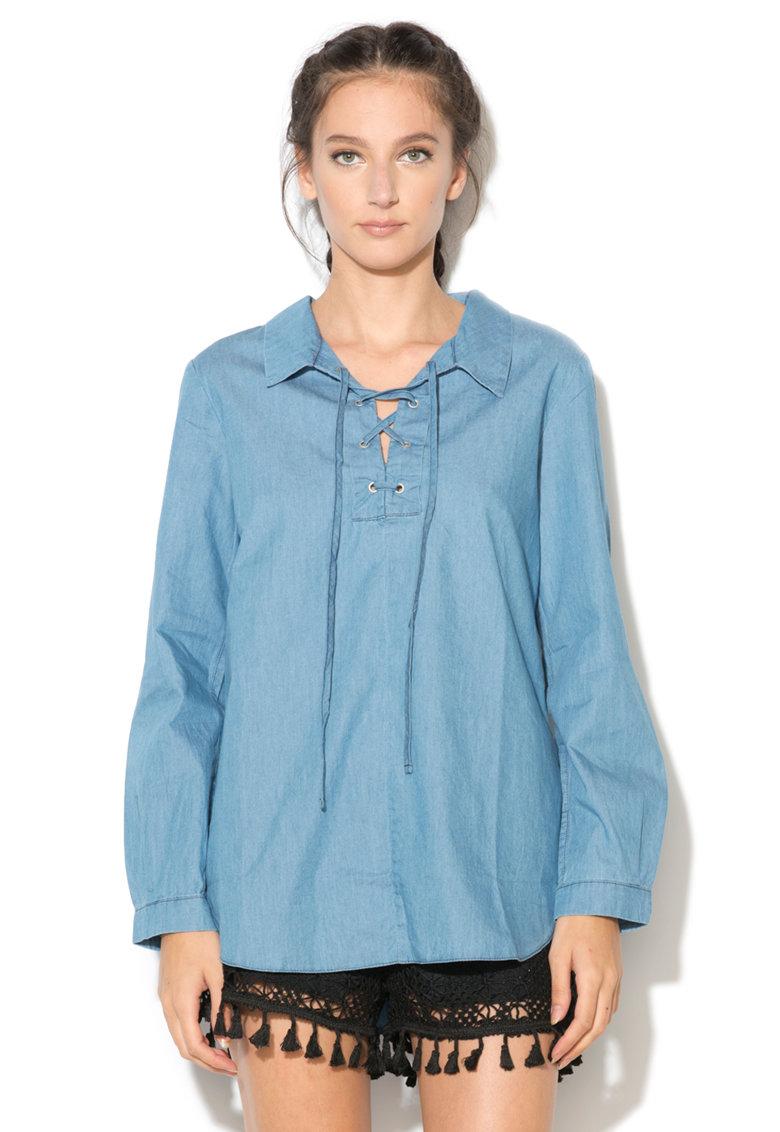 Bluza bleu din chambray Linsay de la BRAVE SOUL