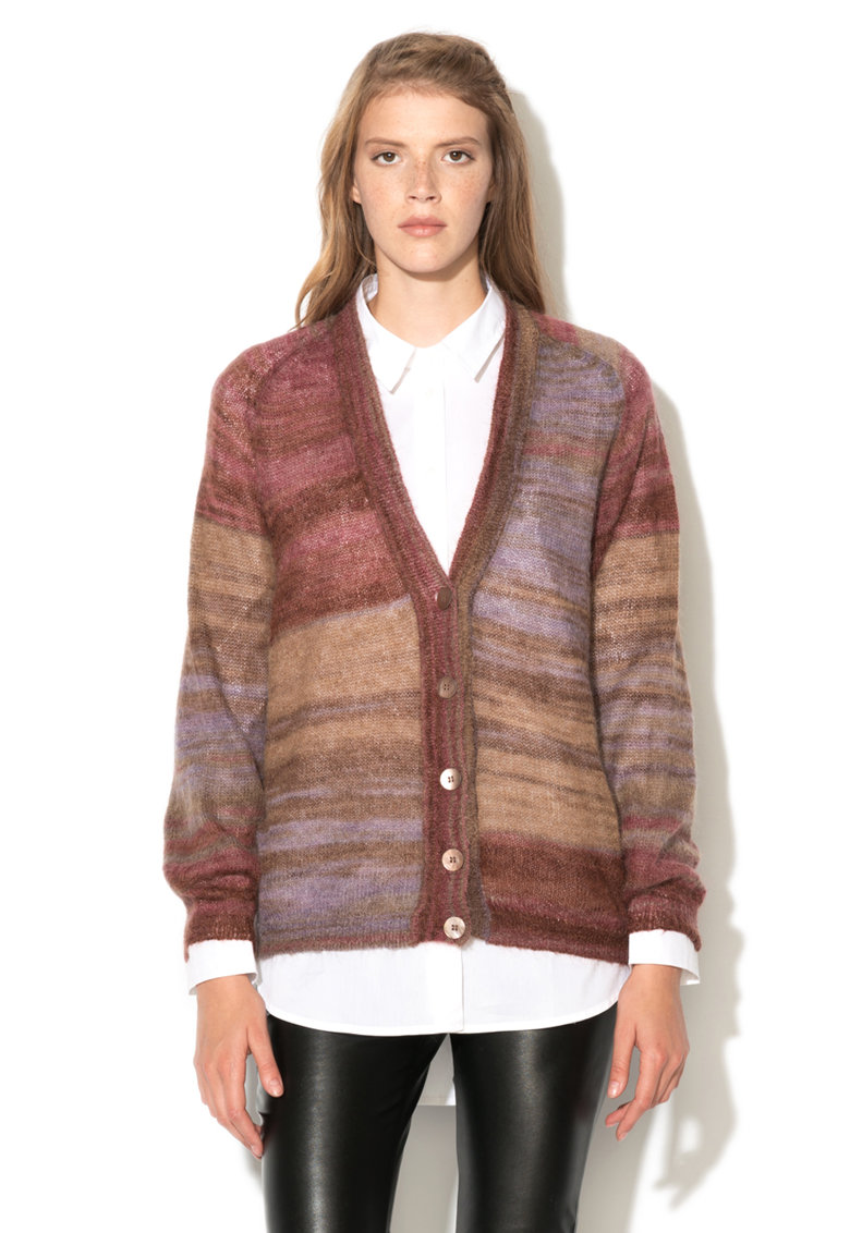 United Colors Of Benetton Cardigan maro cu mov din amestec cu mohair