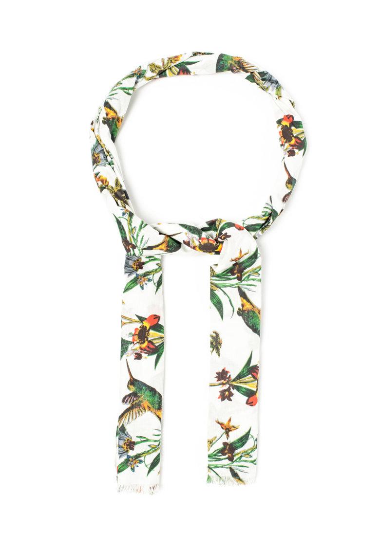 Pepe Jeans London Esarfa cu imprimeu multicolor cu pasari si flori