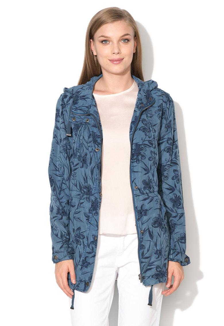 Pepe Jeans London Jacheta albastra din lyocell cu imprimeu Sandy