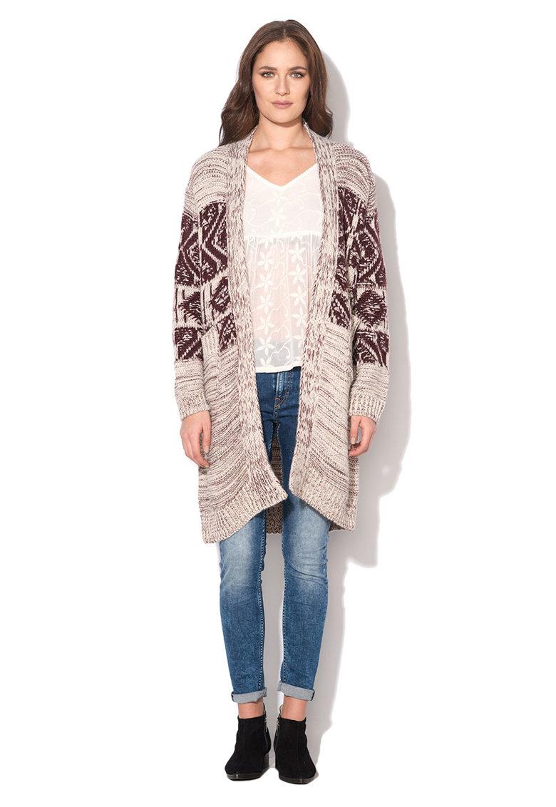 Pepe Jeans London Cardigan lung tricotat Bordeaux cu alb prafuit Greta