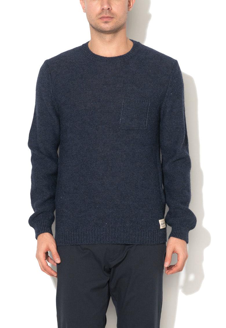 Pulover albastru prafuit din amestec cu lana si lana alpaca