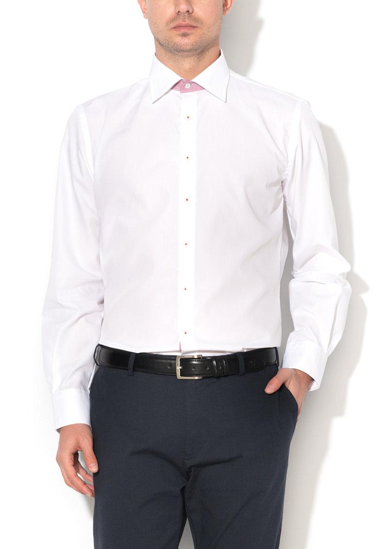 Camasa slim fit alba cu garnituri contrastante