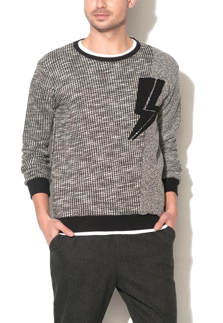 Zee Lane Denim Bluza sport cu model sare si piper si cu aplicatie