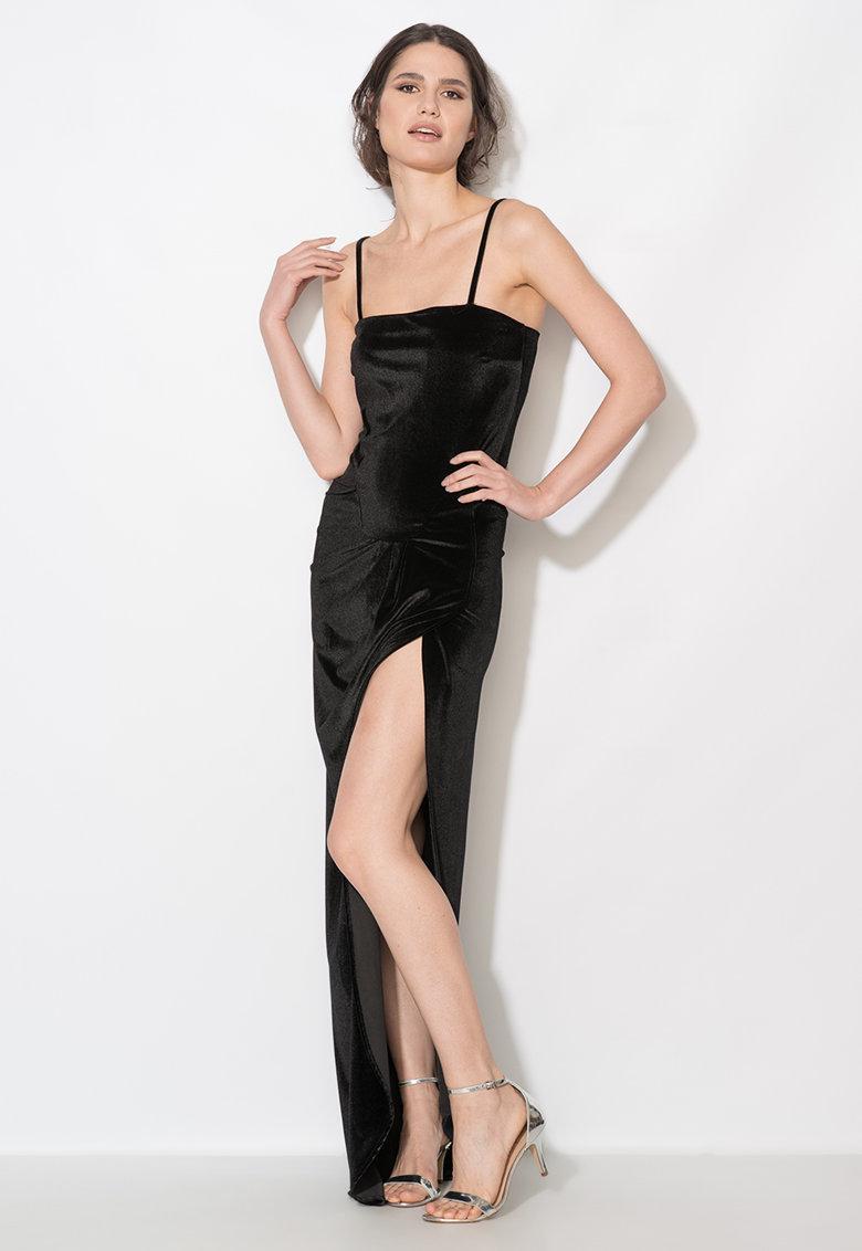 Zee Lane Collection Rochie lunga neagra catifelata cu slit adanc