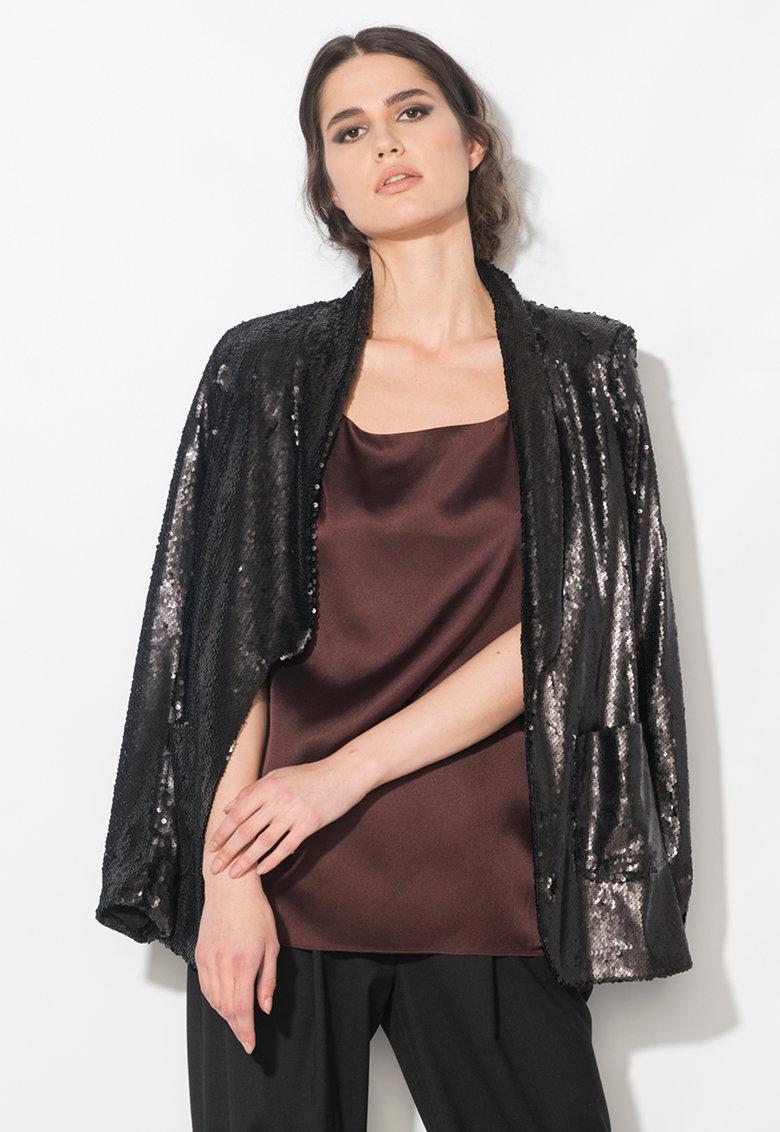 Zee Lane Collection Sacou negru fara inchidere si cu paiete