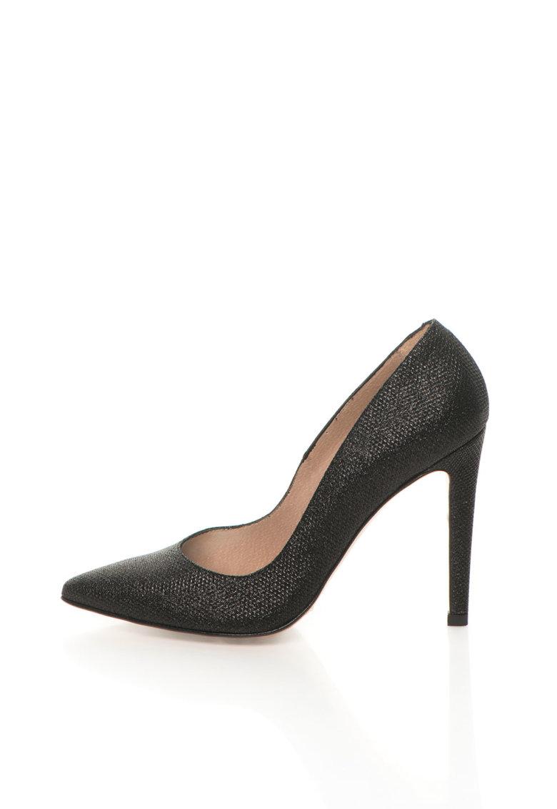 Roberto Botella Pantofi stiletto negri cu aspect stralucitor