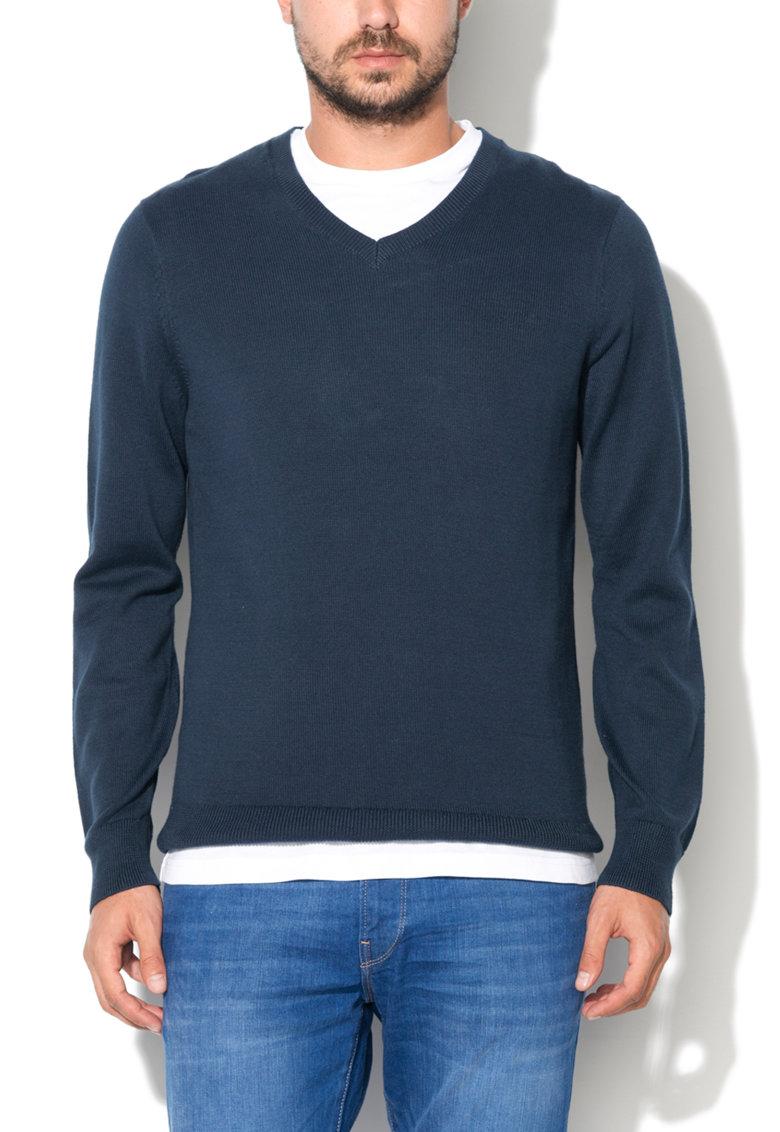 Levis Pulover bleumarin tricotat fin cu decolteu in V