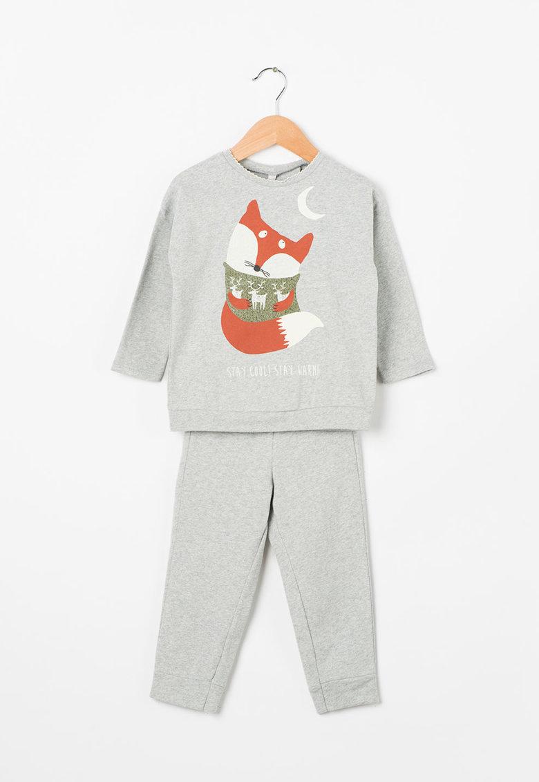 Undercolors of Benetton Pijama cu maneci lungi si imprimeu fosforescent