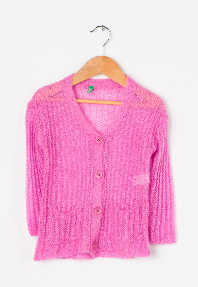 Cardigan tricotat roz
