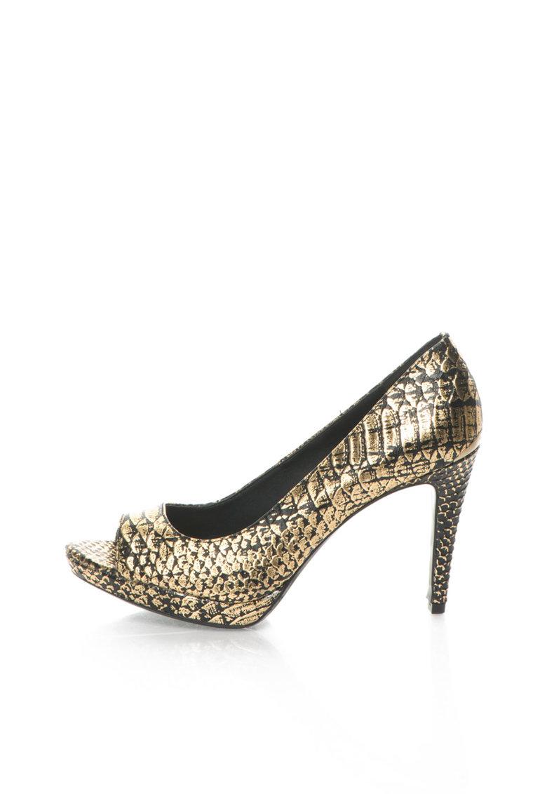 Calvin Klein Pantofi negru cu auriu de piele cu model sarpe Pollina