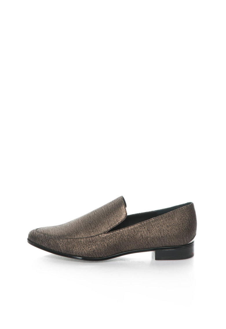 Calvin Klein Pantofi loafer maro bronz de piele intoarsa Falaina