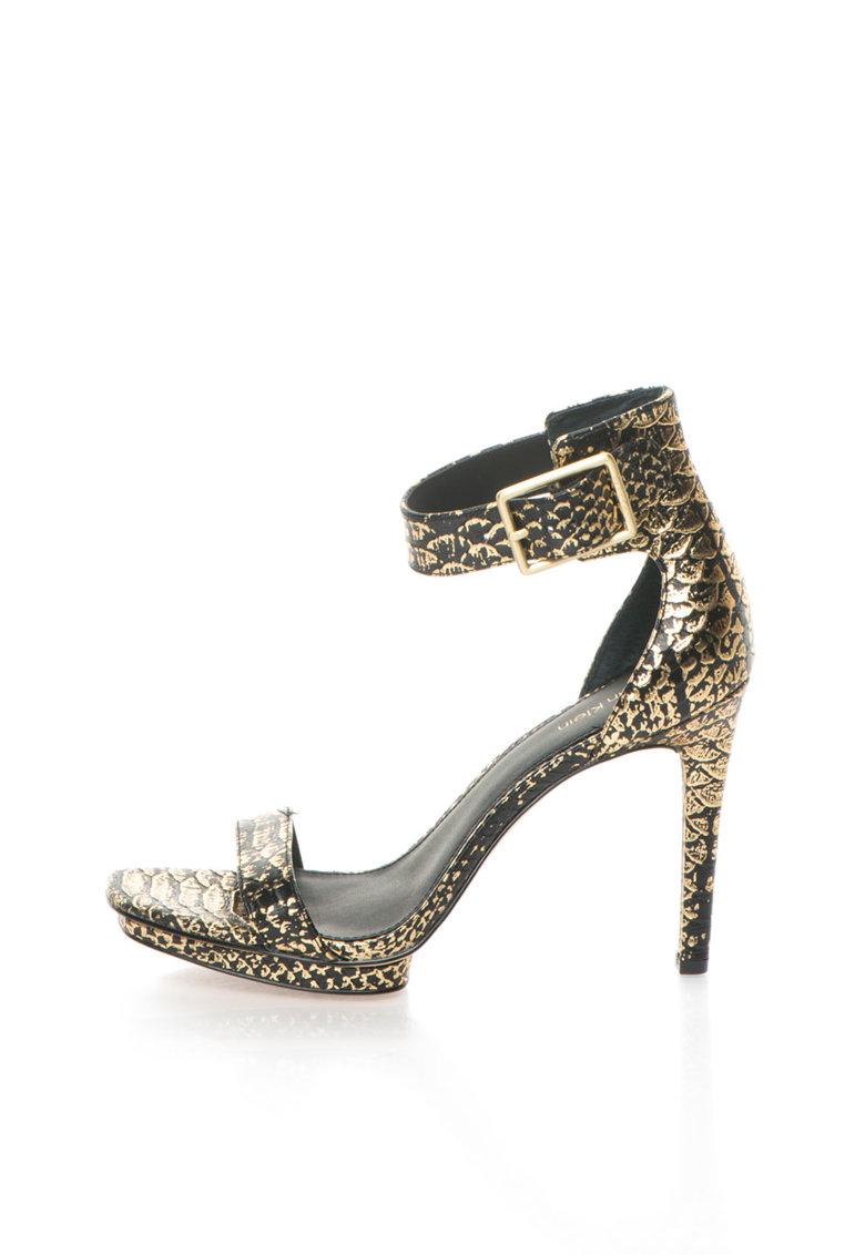Calvin Klein Sandale auriu cu negru de piele cu model sarpe Vable