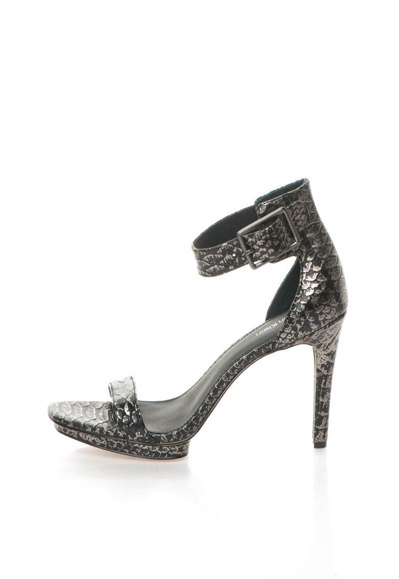 Calvin Klein Sandale argintiu cu negru de piele Vable