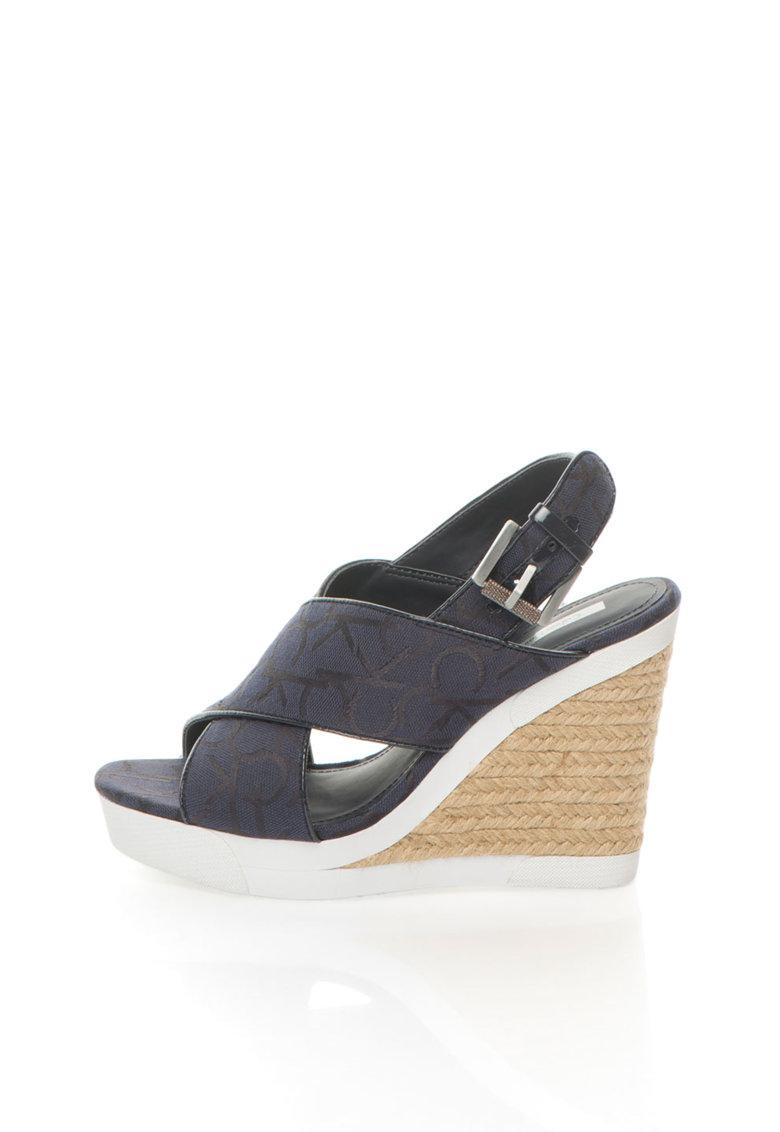 Calvin Klein Jeans Sandale wedge albastru cu alb cu logo Elaine