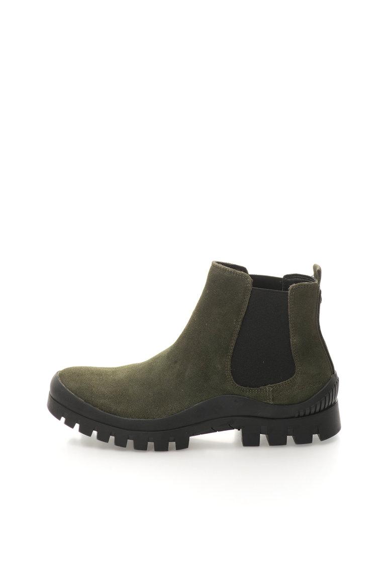 Calvin Klein Jeans Ghete Chelsea verde militar de piele intoarsa Hugo