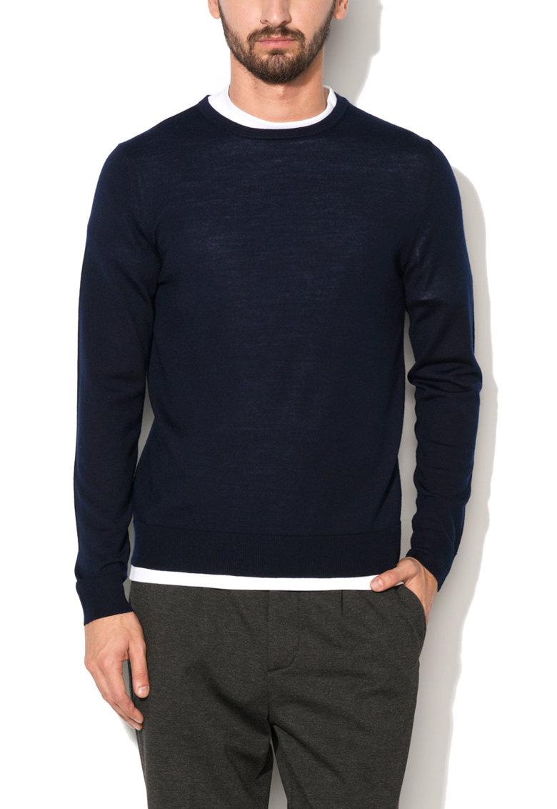 JackJones Pulover bleumarin din lana merinos Mark