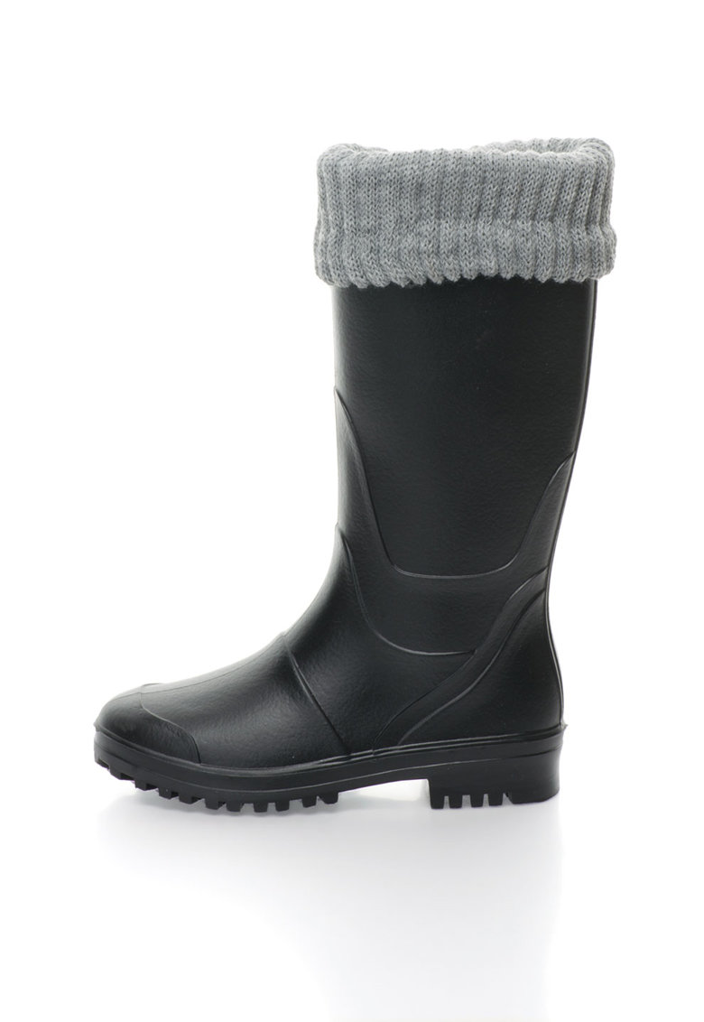 Cizme de ploaie negre cu margine superioara tricotata Catch