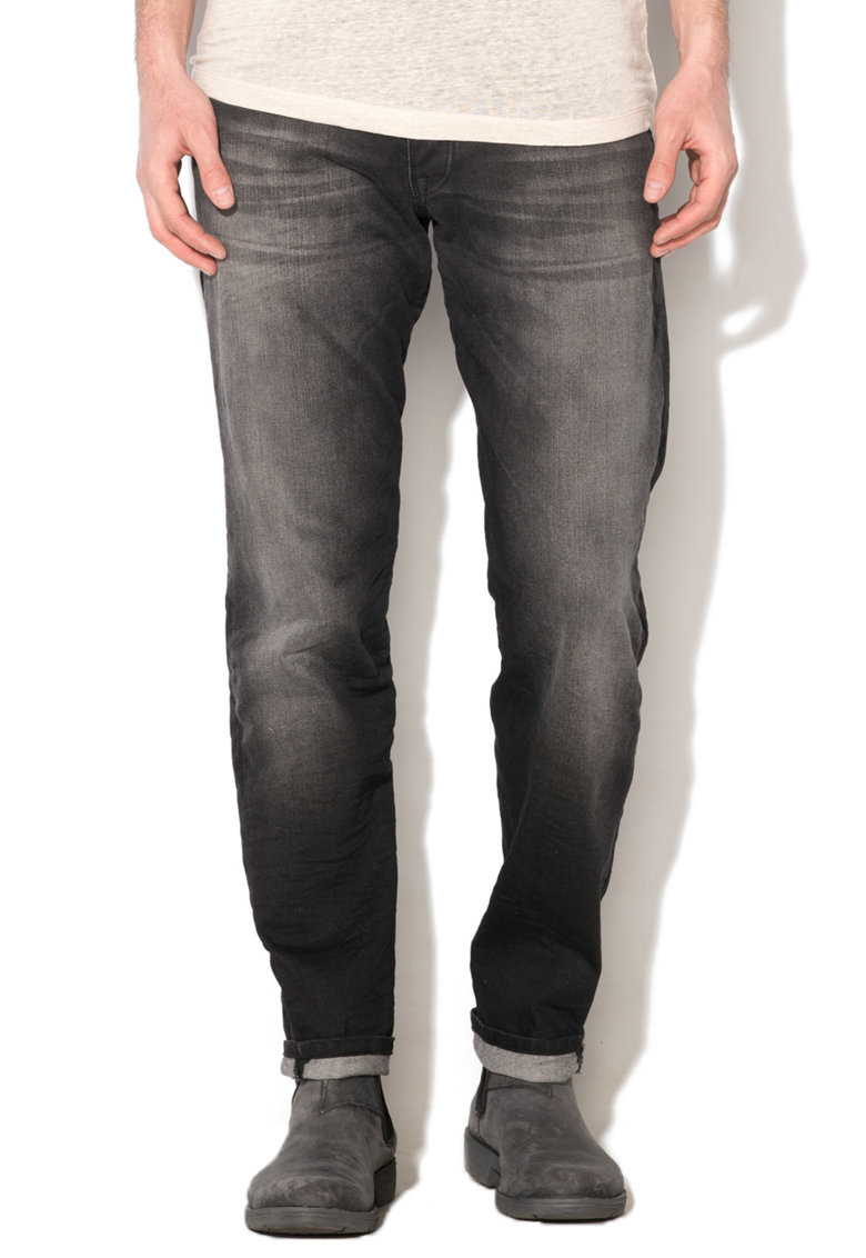 JackJones Jeansi conici negri cu aspect decolorat Mike