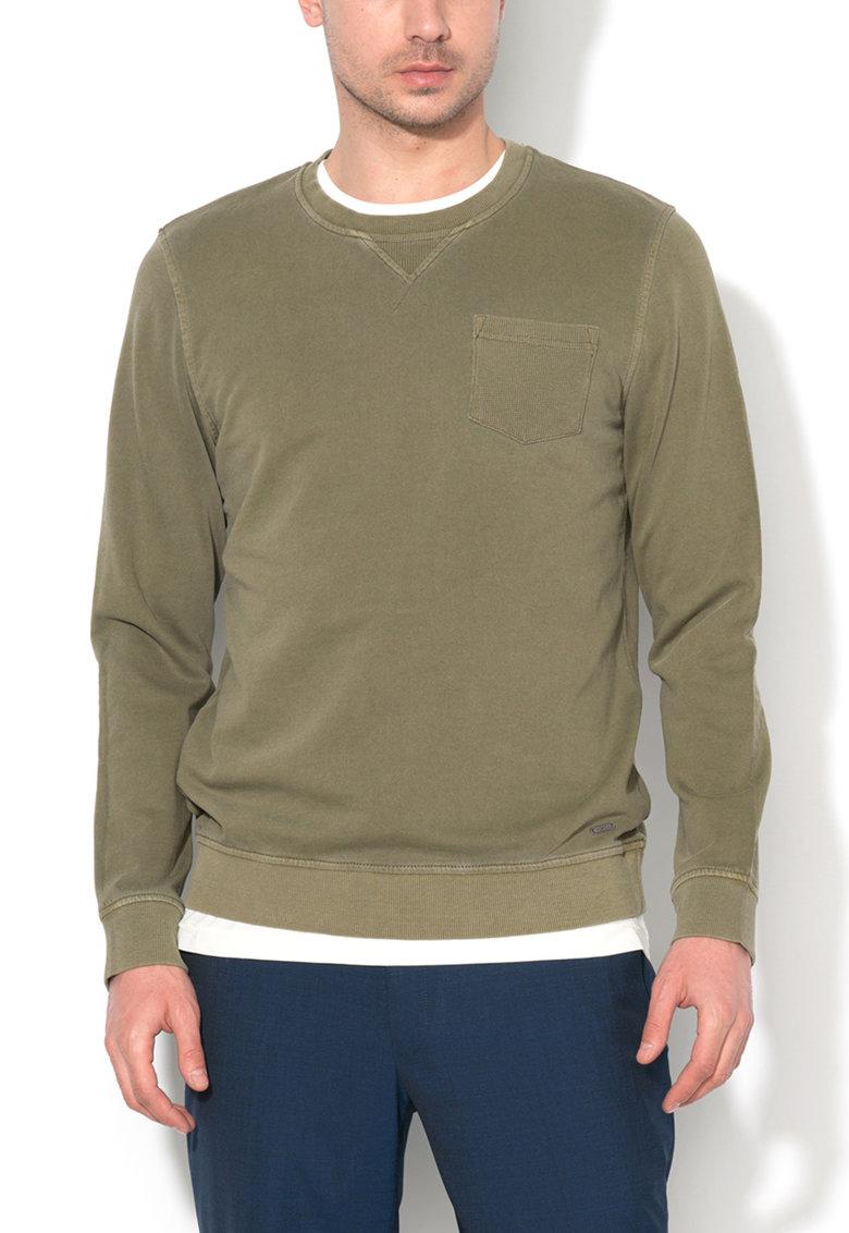Bluza sport verde militar cu buzunar pe piept