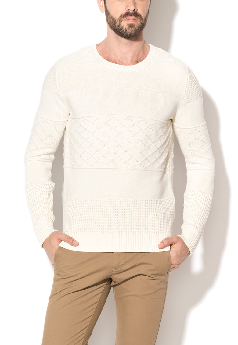 Selected Homme Pulover alb fildes cu model in relief Charlie