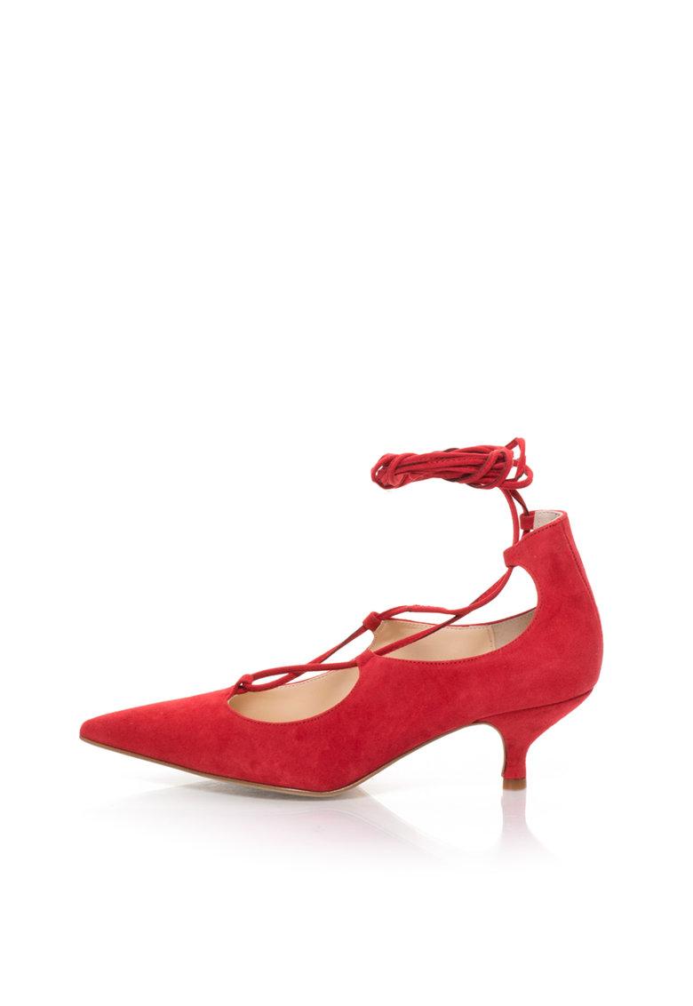 Pantofi rosii de piele intoarsa cu siret