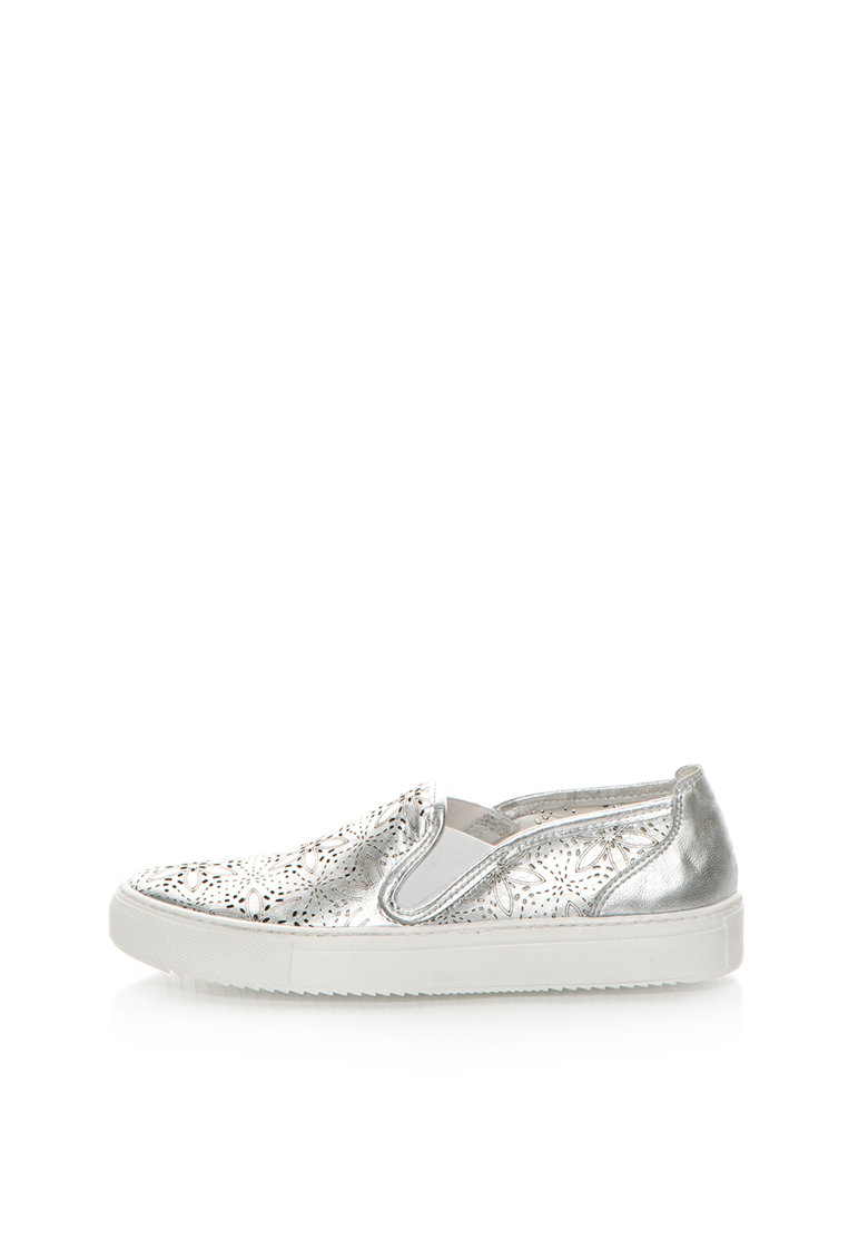 Zee Lane Pantofi slip-on argintii de piele