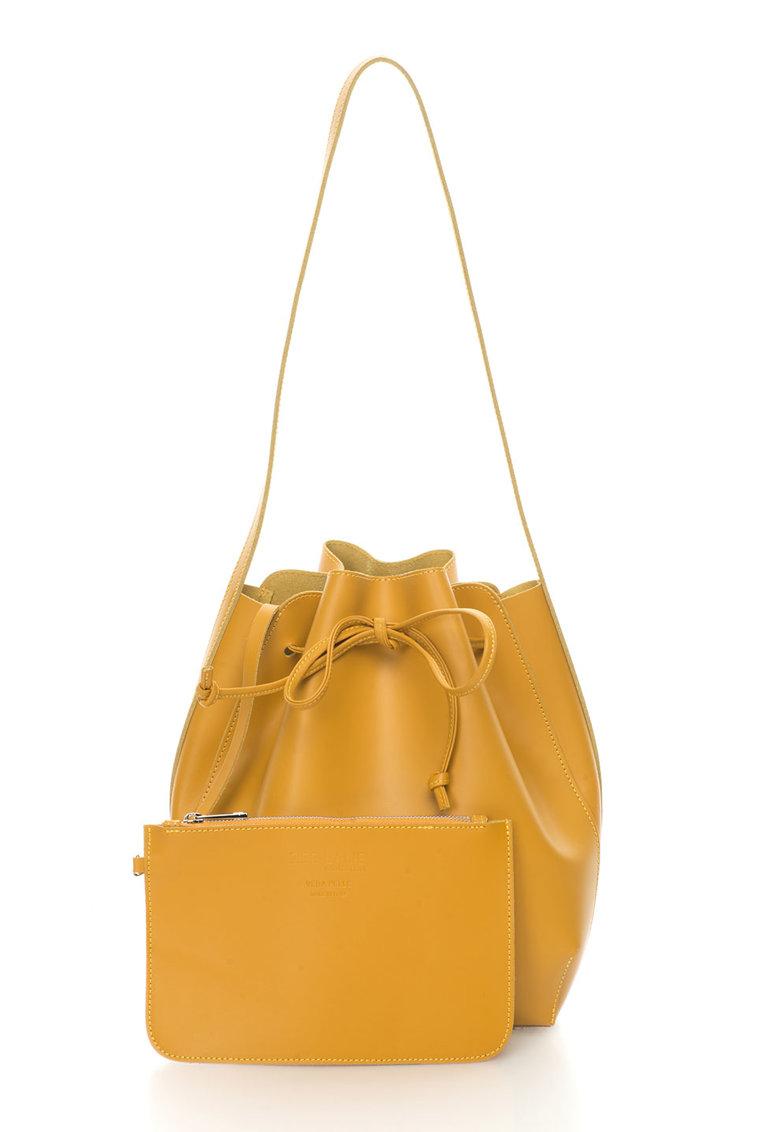 Zee Lane Collection Geanta bucket galben mustar de piele Anny