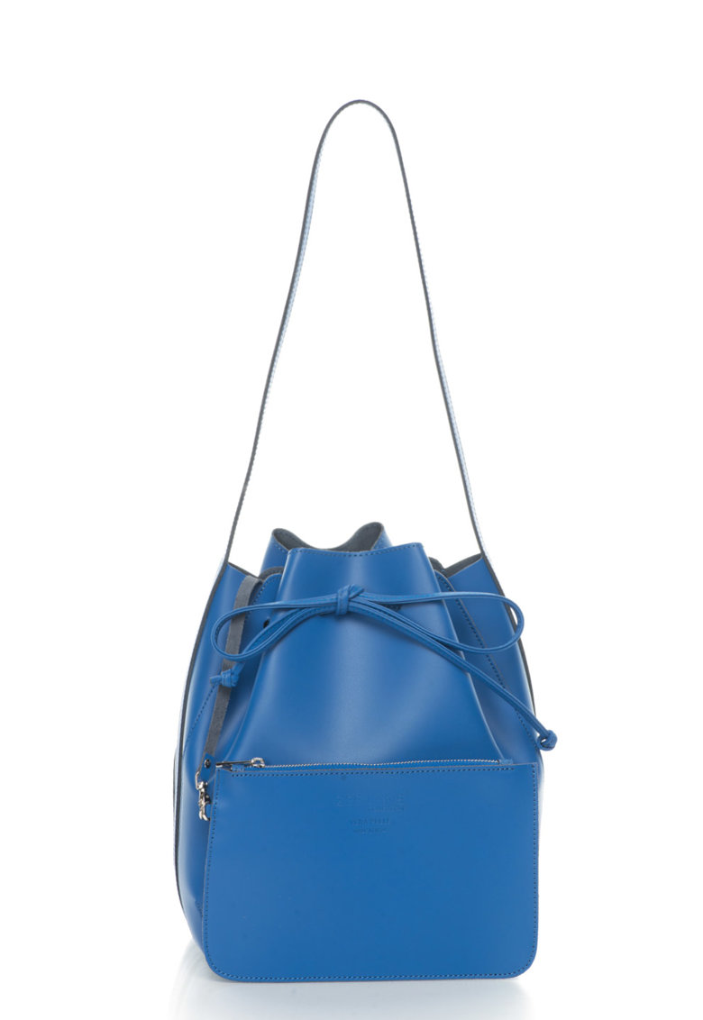 Zee Lane Collection Geanta bucket albastra de piele cu portofel detasabil Anny