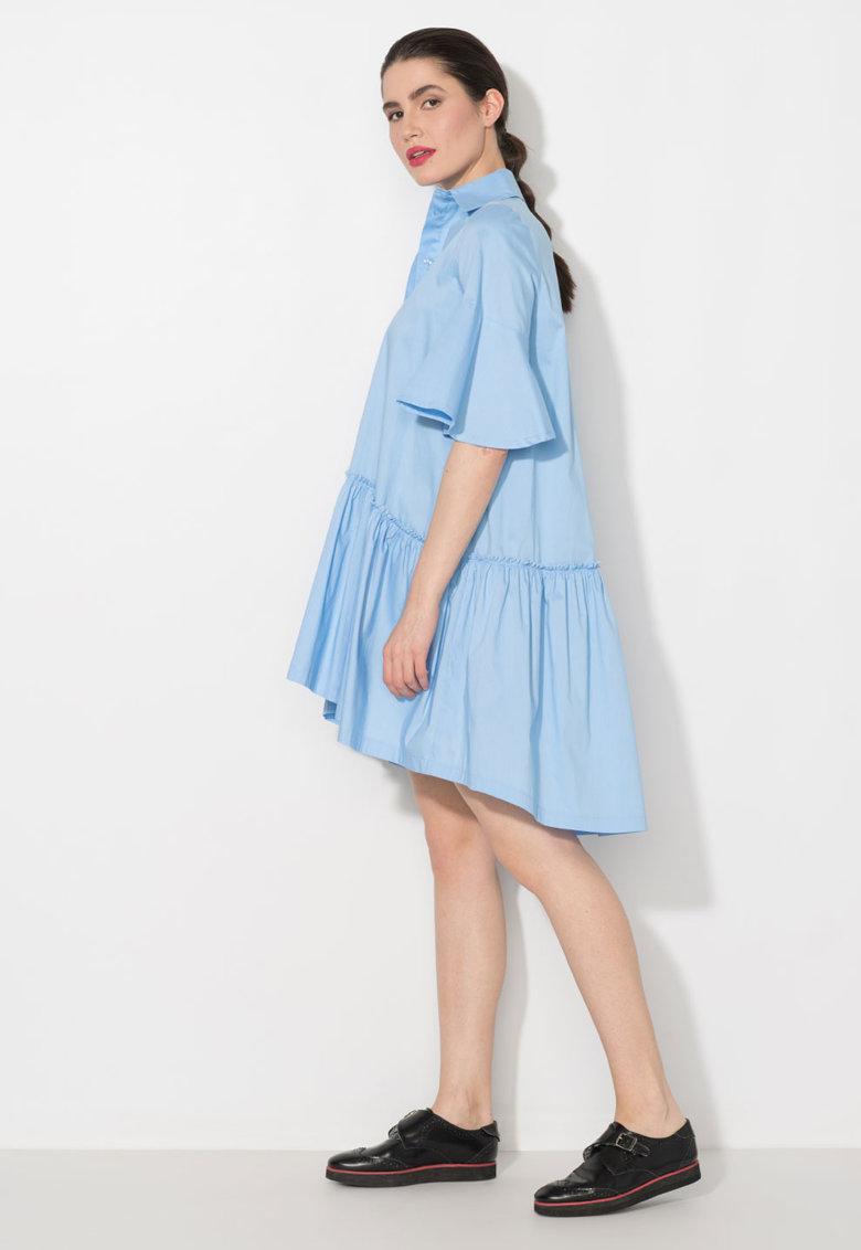 Zee Lane Denim Rochie albastru azur asimetrica cu guler ascutit