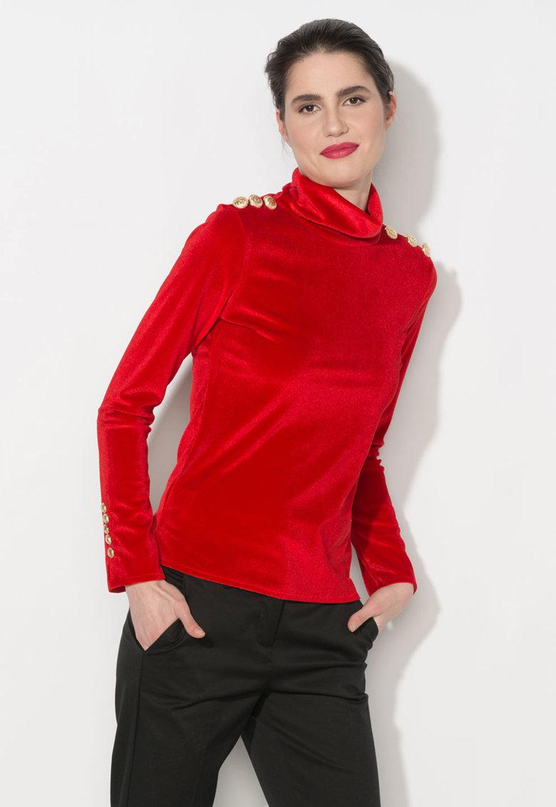 Bluza rosie catifelata cu guler inalt