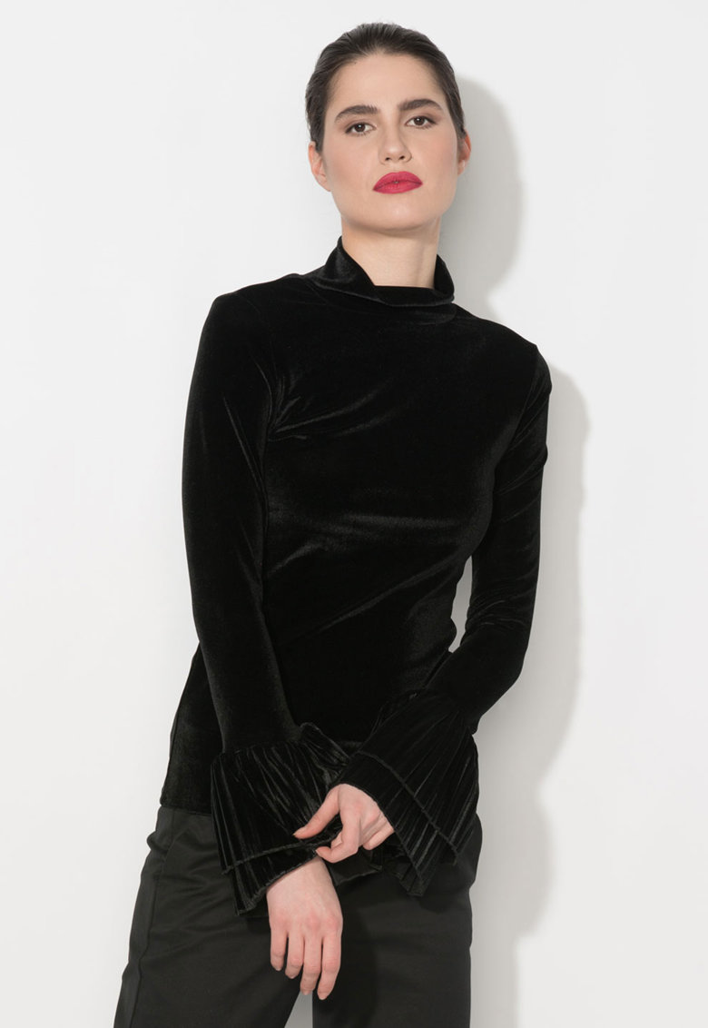 Zee Lane Denim Bluza neagra catifelata cu mansete plisate si guler inalt