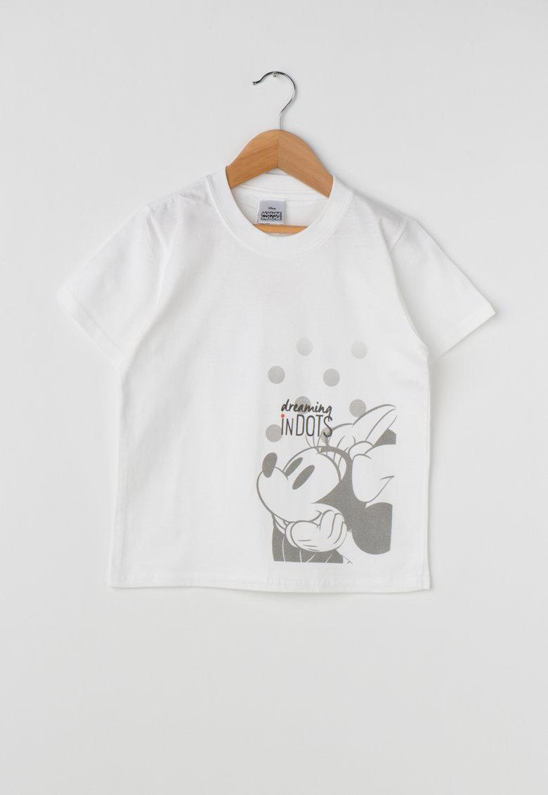 Tricou alb cu imprimeu gri Minnie de la Disney MINNIE-1-WHITE-KIDS
