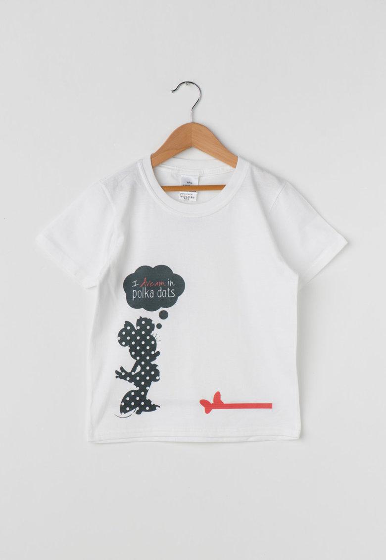 Disney Tricou alb cu imprimeu negru pe ambele parti Minnie