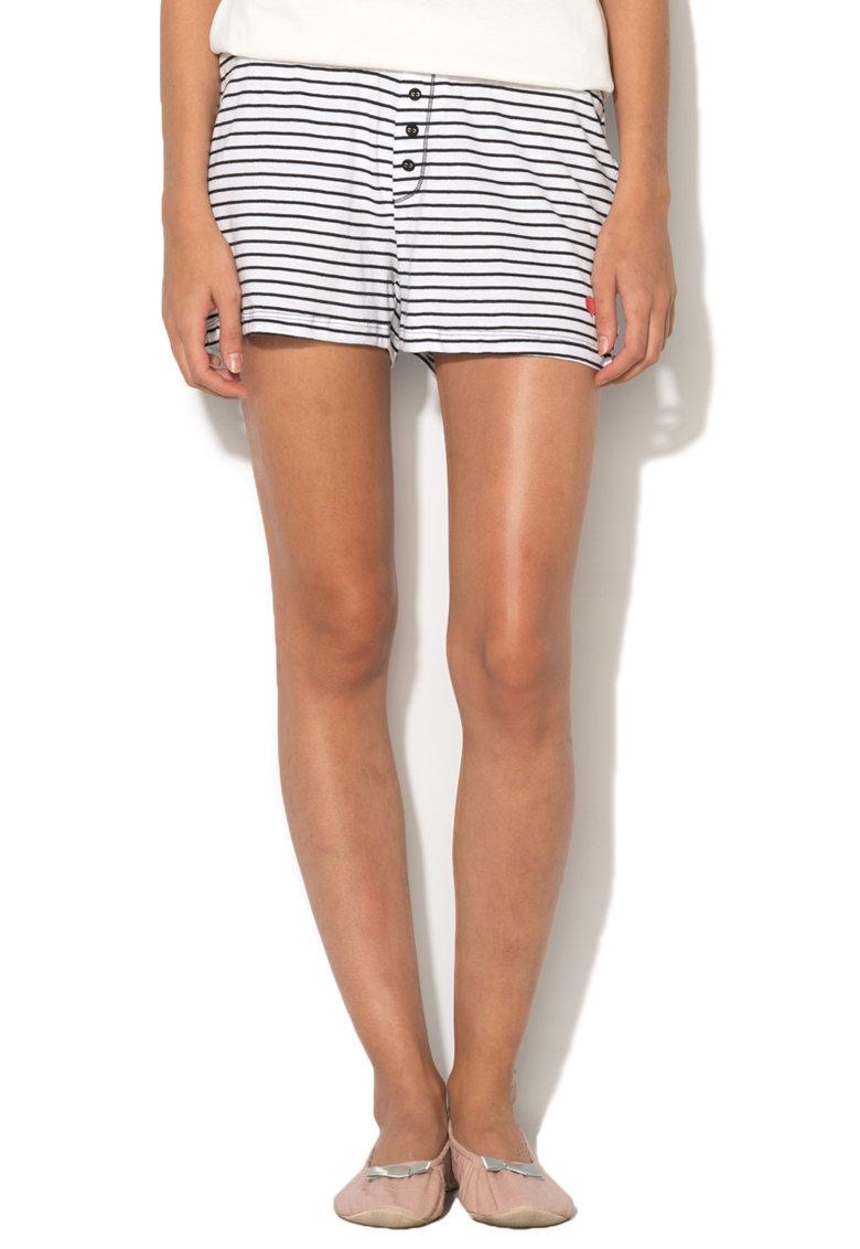ESPRIT Bodywear Pantaloni scurti negru cu alb pentru casa Abril