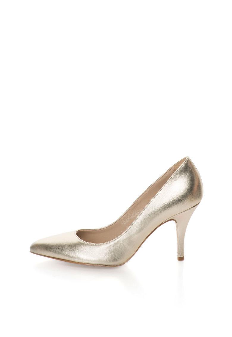 Zee Lane Pantofi aurii de piele cu varf ascutit