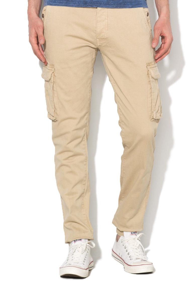 Alcott Pantaloni cargo bej cu mansete elastice